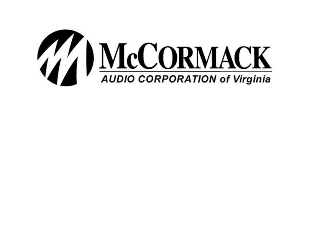 McCormack Audio homepage