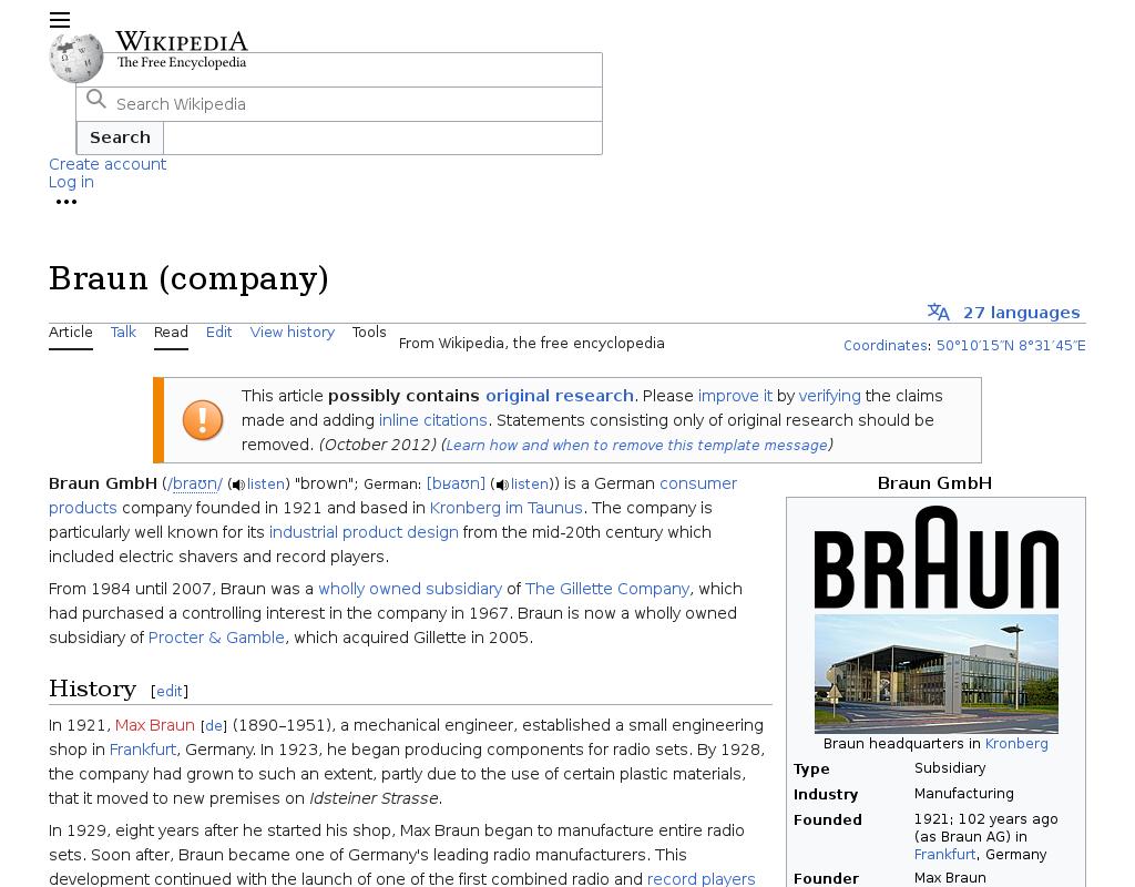 Braun homepage